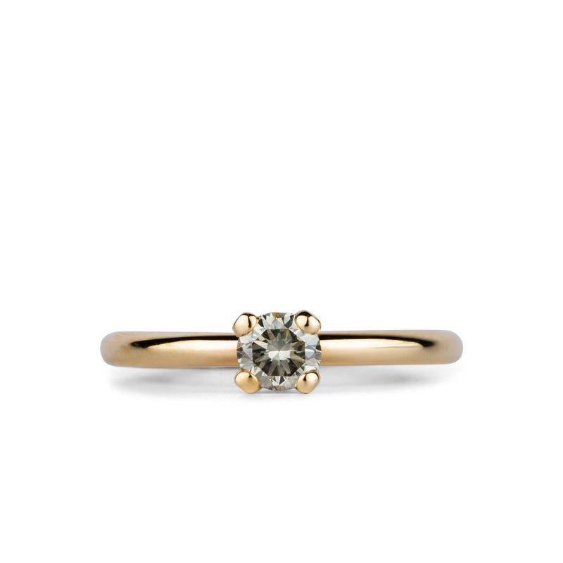 Aleta Grey Diamond Four Prong Solitaire in Yellow Gold by Corey Egan