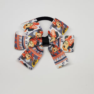 3.5 Inch Pinwheel Bow on Elastic - Minnie Mouse