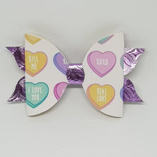 4 Inch Mackenzie Leatherette Bow - Hearts