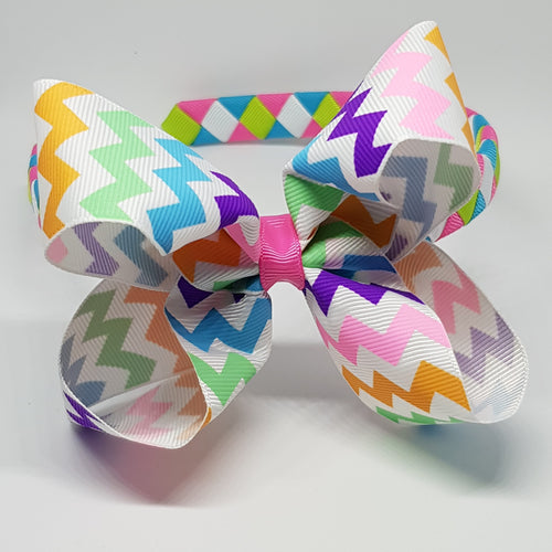 1/2 Inch Woven Headband with Chevron Boutique Bow