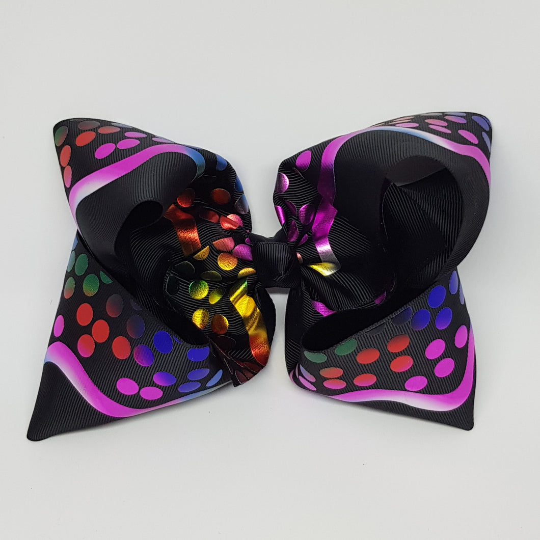 8 Inch Boutique Bow - Black with Foil Spots and Wave