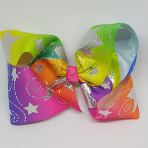 8 Inch Boutique Bow - Silver Stars and Swirls