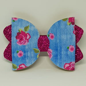 4.25 Inch Ava Leatherette Bow - Blue Floral