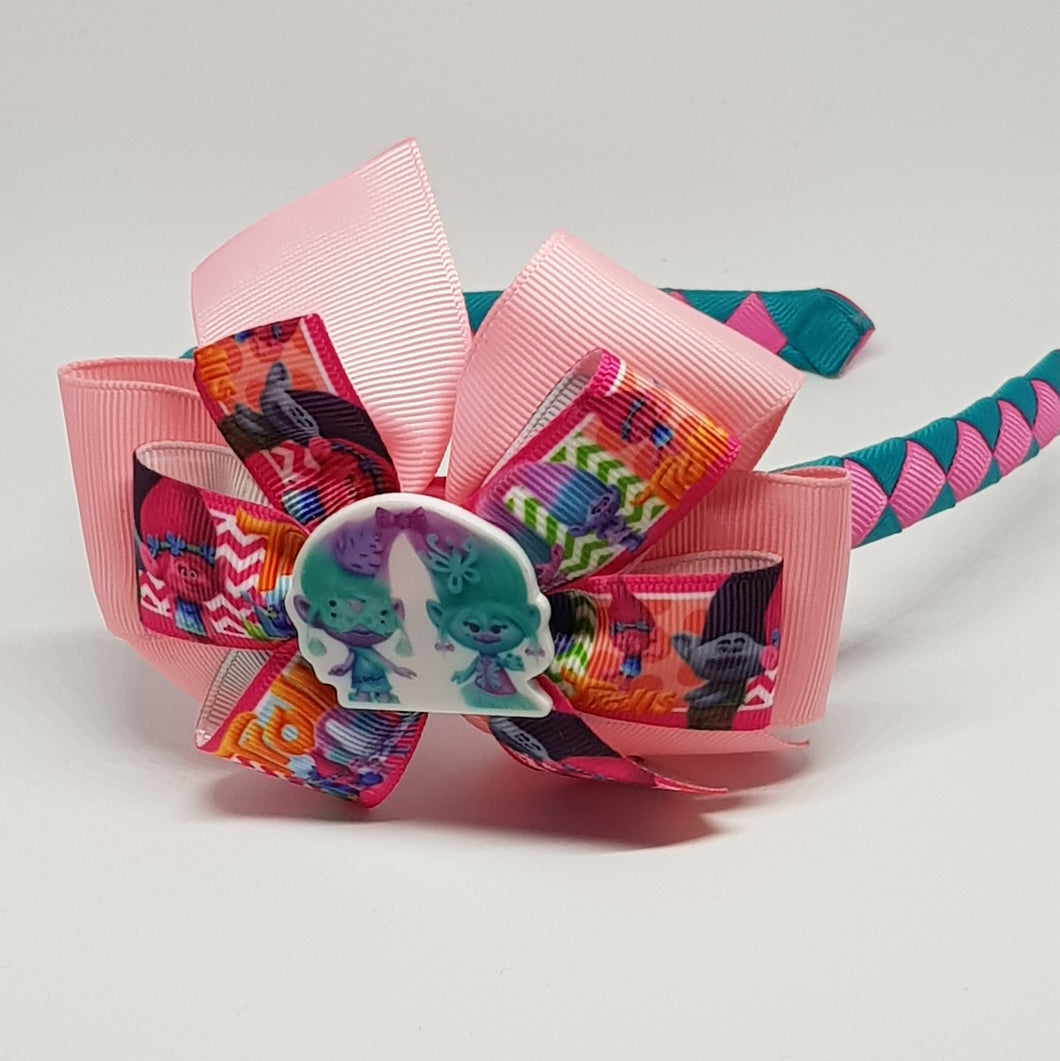 1/2 Woven Headband with Double Bow - Trolls