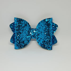 4.25 Inch Ava Leatherette Bow - Chunky Glitter