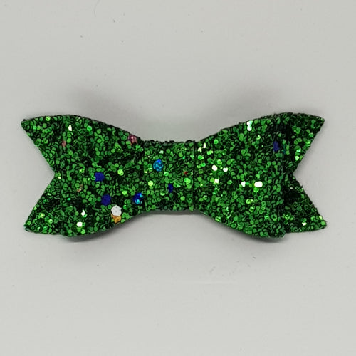 2.75 Inch Ivy Christmas Bow - Green Tinsel