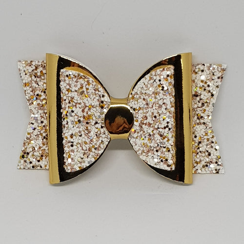 3.25 Inch Double Glitter & Mirror Bow - Sprinkle of Gold with Gold