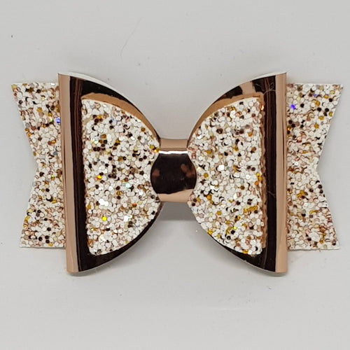 3.25 Inch Double Glitter & Mirror Bow - Sprinkle of Gold with Rose Gold