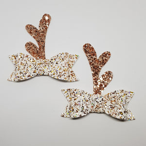 2.75 Inch Ivy Christmas Bow Set - Christmas Angel Rose Gold Reindeer