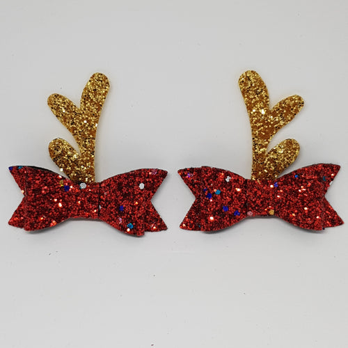 2.75 Inch Ivy Christmas Bow Set - Red Tinsel Gold Reindeer