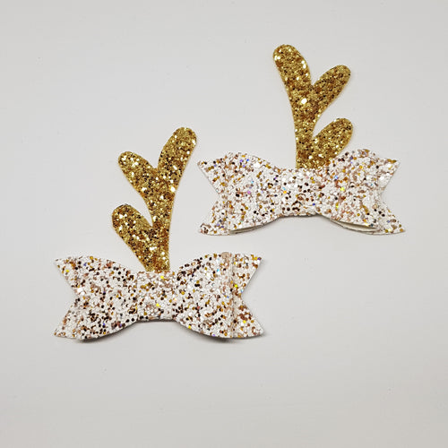 2.75 Inch Ivy Christmas Bow Set - Christmas Angel Gold Reindeer