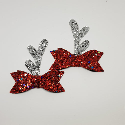2.75 Inch Ivy Christmas Bow Set - Red Tinsel Silver Reindeer