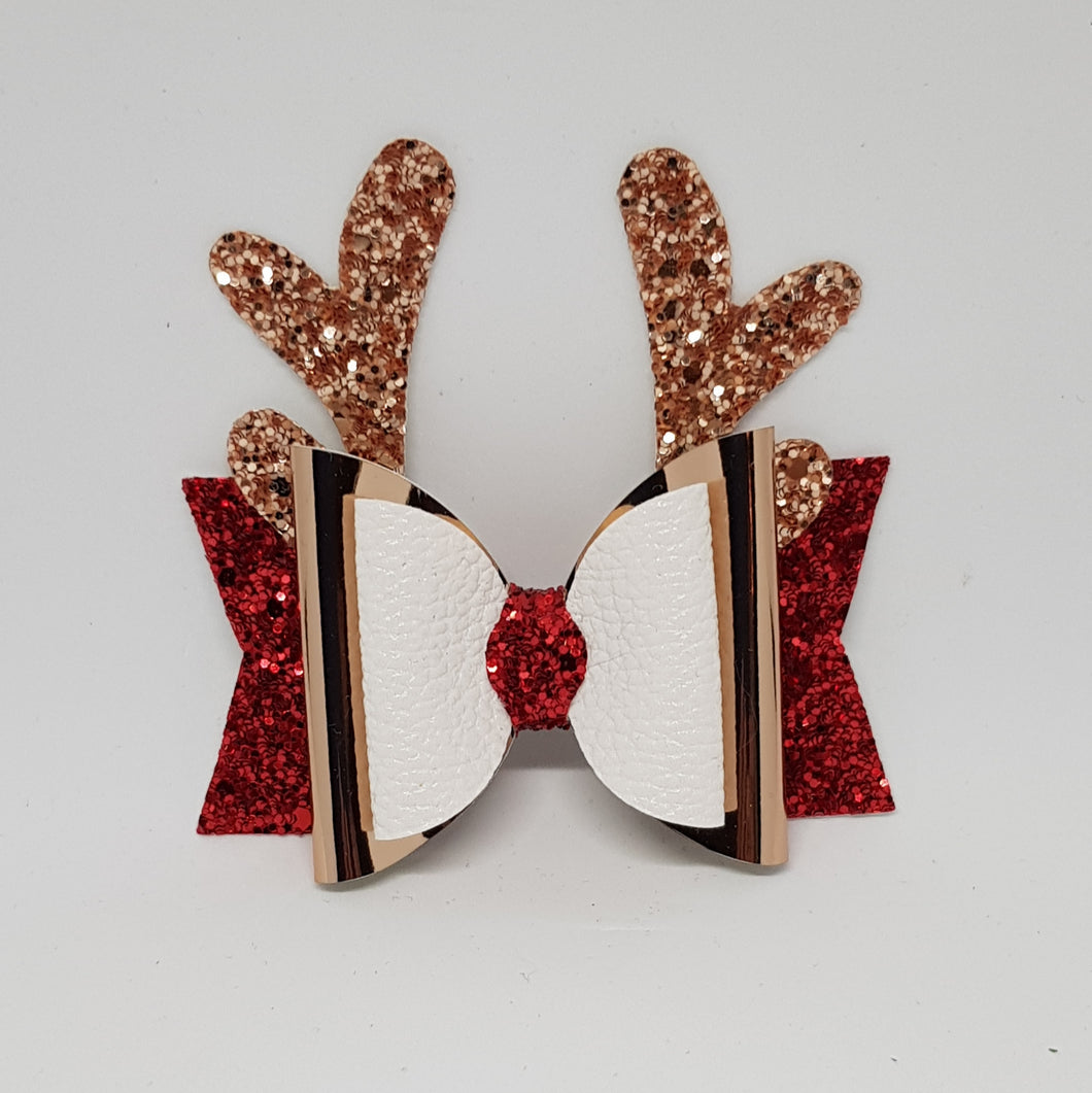 3.25 Inch Christmas Bow - Rose Gold, Red & White Christmas Reindeer