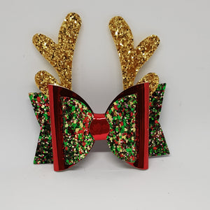 3.25 Inch Christmas Bow - Christmas Tree with Red - Gold Reindeer