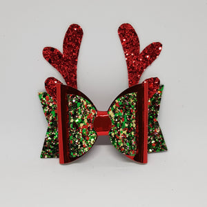 3.25 Inch Christmas Bow - Christmas Tree with Red - Red Reindeer