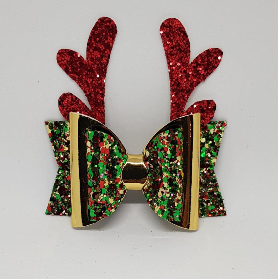 3.25 Inch Christmas Bow - Christmas Tree with Gold - Red Reindeer