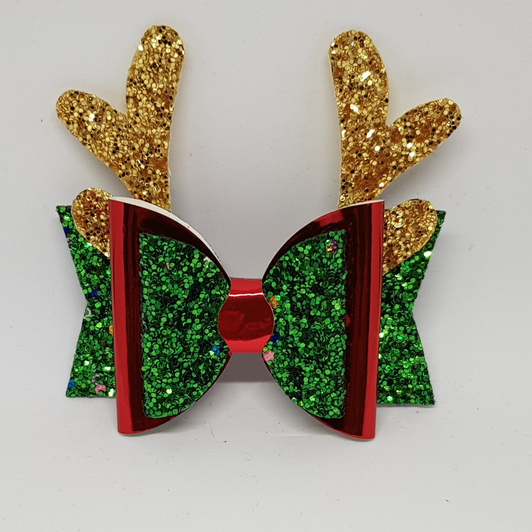 3.25 Inch Christmas Bow - Green Tinsel with Red - Gold Reindeer
