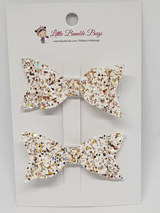 2.25 Inch Baby Ruby Bow Set - A Sprinkle of Gold