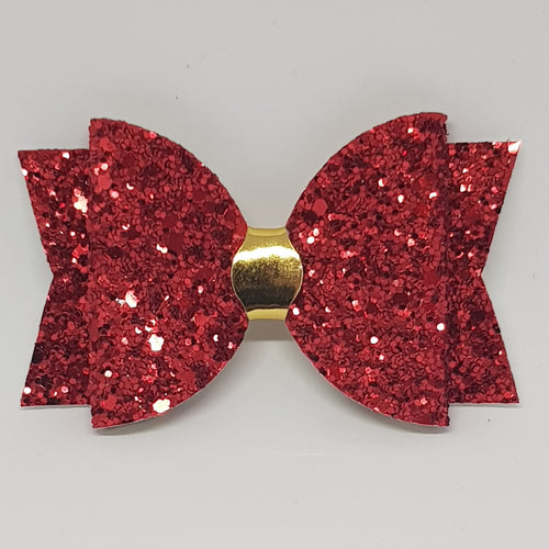3.25 Inch Chunky Glitter Bow - Ruby Red Gold Centre
