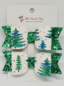 3.25 Inch Leatherette Bow Set of 2 - Christmas Tree