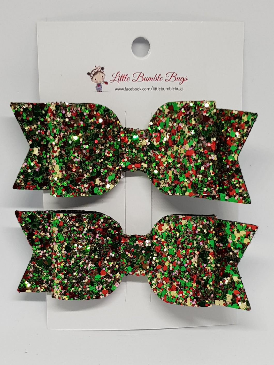 3.25 Inch Sophie Bow Set of 2 - Sparkling Christmas Tree