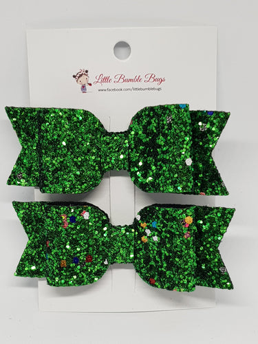 3.25 Inch Leatherette Bow Set of 2 - Christmas Green Tinsel