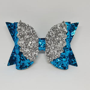 4 Inch Glitter Angel Wings Bow - Turquoise & Silver