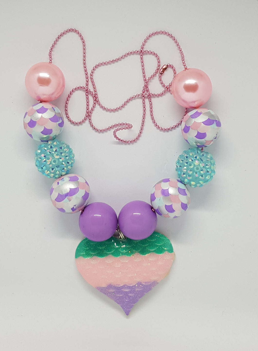 Bubblegum Bling Necklace - Mermaid Scale Heart