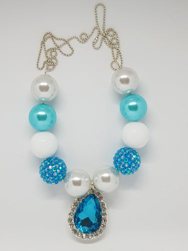 Bubblegum Bling Necklace - Crystal Teardrop - Blue
