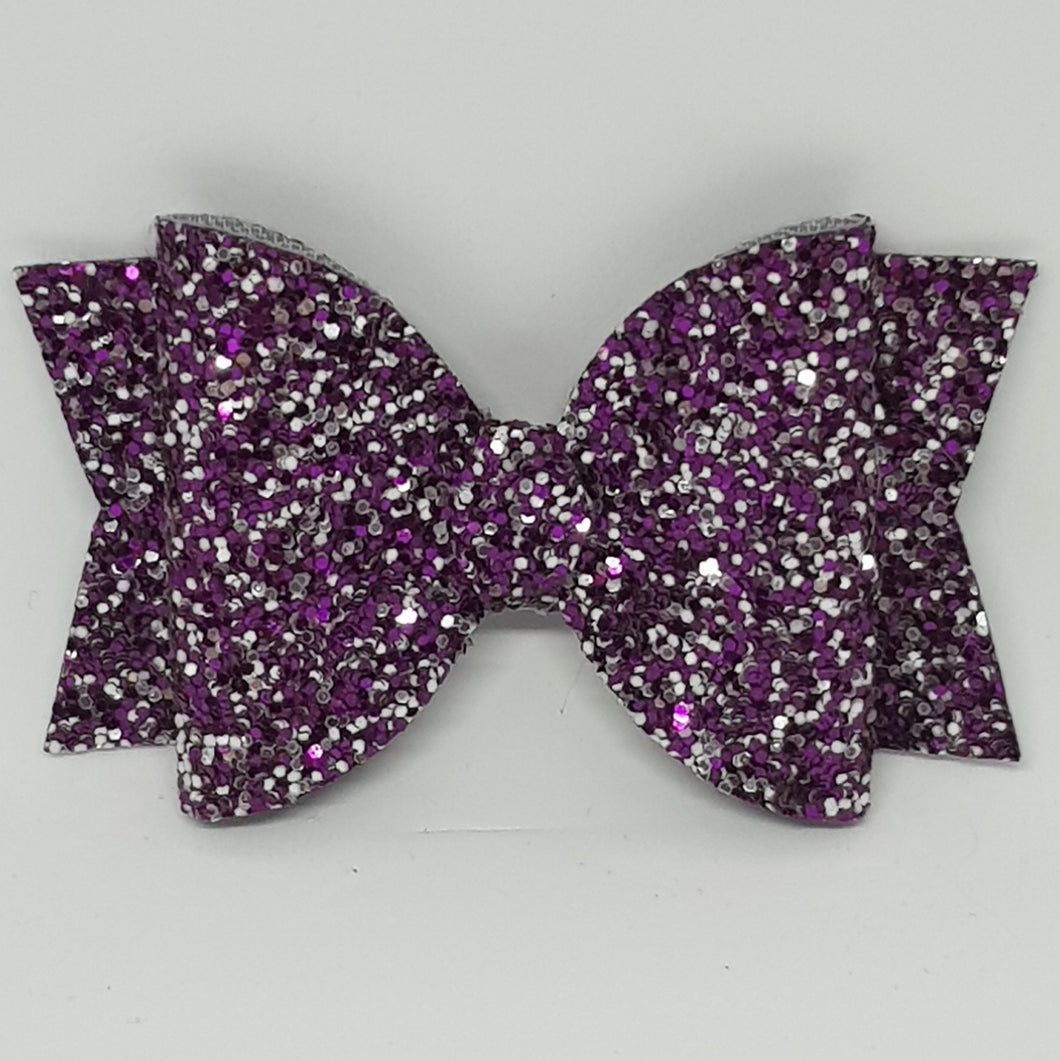 3.25 Inch Chunky Glitter Bow - Berry Bliss