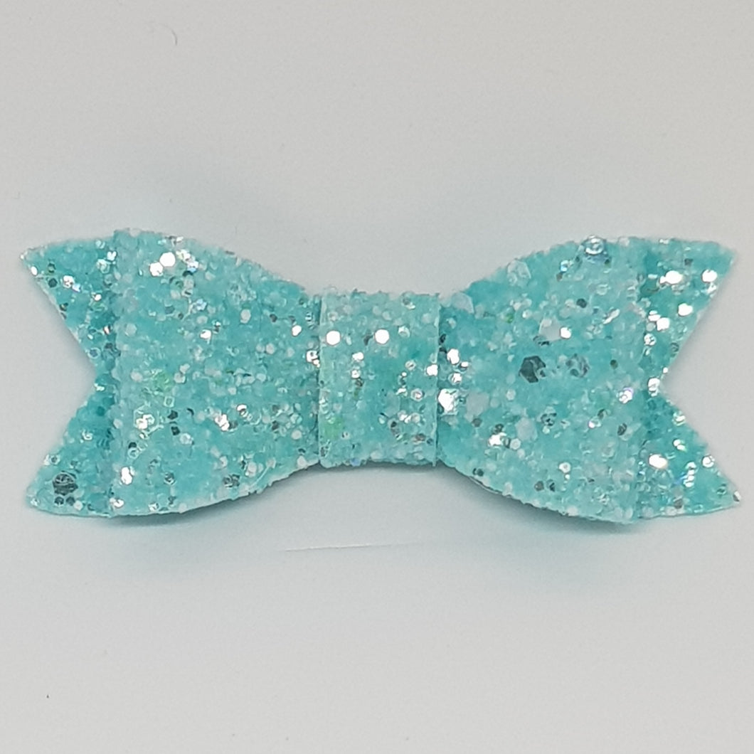 2.75 Inch Ivy Frosted Chunky Glitter Bow - Baby Blue