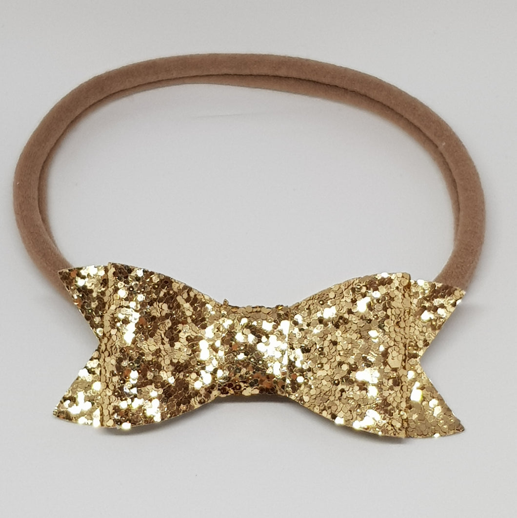 2.75 Inch Ivy Chunky Glitter Bow - Champagne Gold