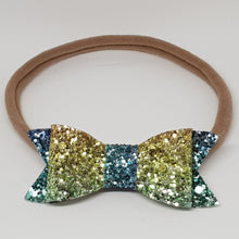 2.75 Inch Ivy Chunky Glitter Bow - Rainbow Yellow Blue & Green
