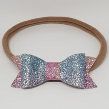 2.75 Inch Ivy Fine Glitter Bow - Rainbow Blue Pink & Yellow