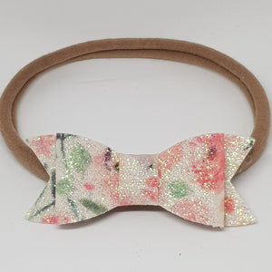 2.75 Inch Ivy Fine Glitter Bow - Apricot Floral