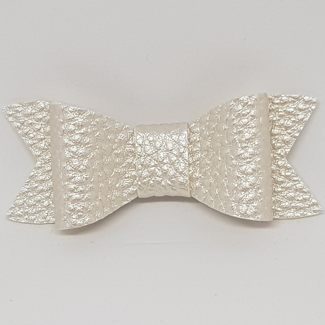 2.75 Inch Ivy Faux Leather Bow - Pearl White