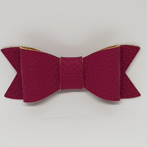 2.75 Inch Ivy Faux Leather Bow - Raspberry