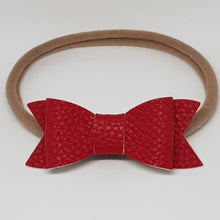 2.75 Inch Ivy Faux Leather Bow - Poppy Red
