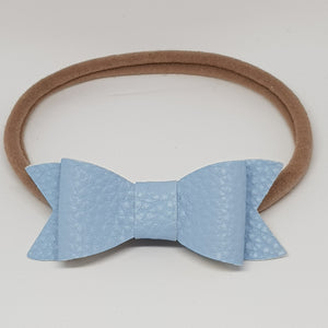 2.75 Inch Ivy Faux Leather Bow - Antique Blue