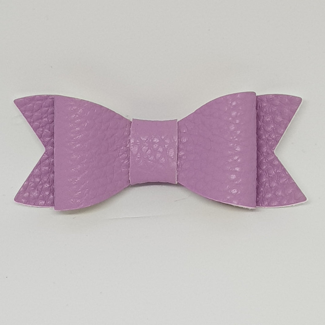 2.75 Inch Ivy Faux Leather Bow - Wisteria