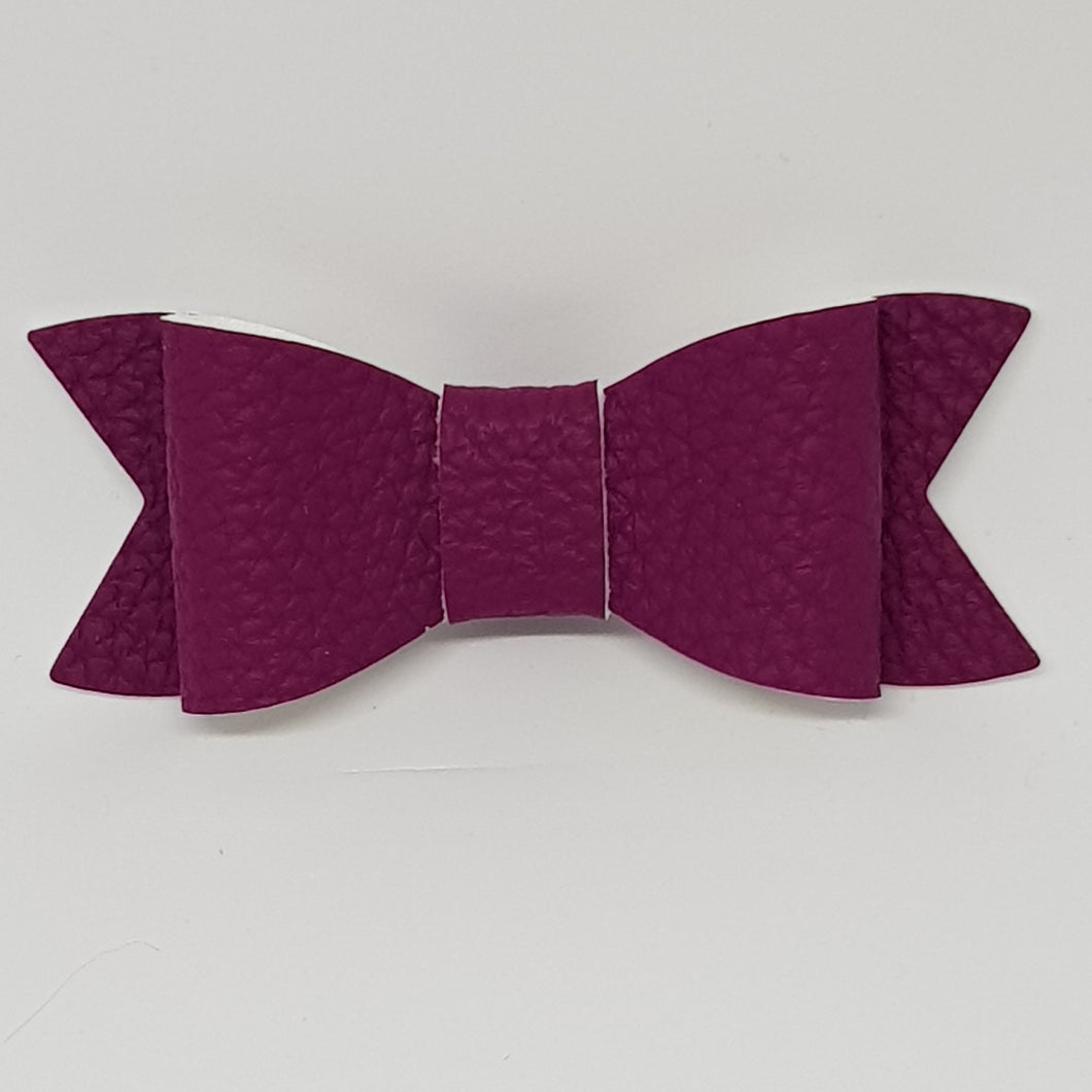 2.75 Inch Ivy Faux Leather Bow - Plum