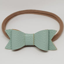 2.75 Inch Ivy Faux Leather Bow - Sage Mist