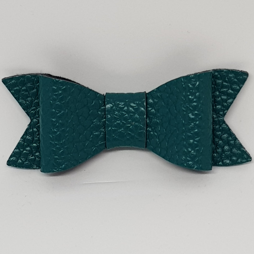 2.75 Inch Ivy Faux Leather Bow - Peacock Green