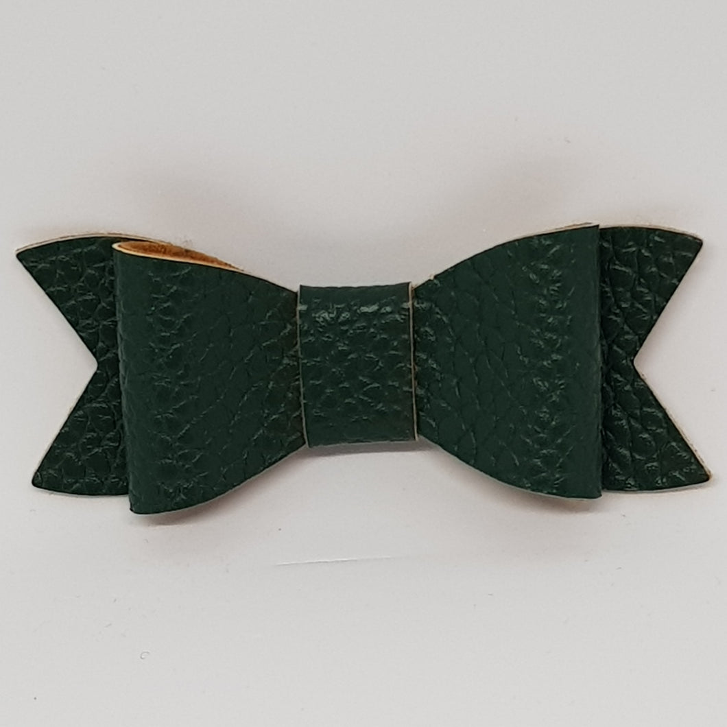 2.75 Inch Ivy Faux Leather Bow - Pine Green