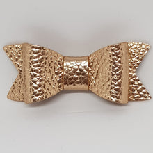 2.75 Inch Ivy Faux Leather Bow - Rose Gold