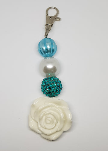 Bubblegum Bling Bag Tag - White Rose - White with Turquoise