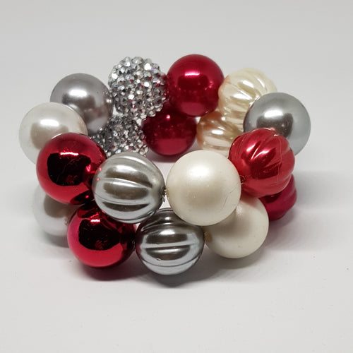 Bubblegum Bling Bracelet - Christmas Red Silver & Pearl