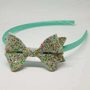 Headband - Glitter Leatherette Butterfly Bow Headband