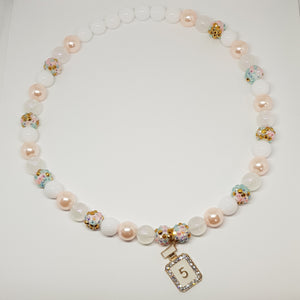 Petite Bubblegum Bling Necklace - White, Crystal & Pearl - Chanel No 5