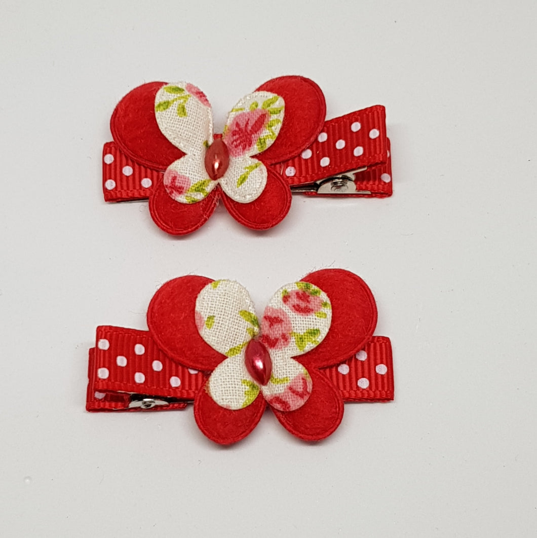 4.5 cm Non Slip Clips - Small Butterflies on Spots